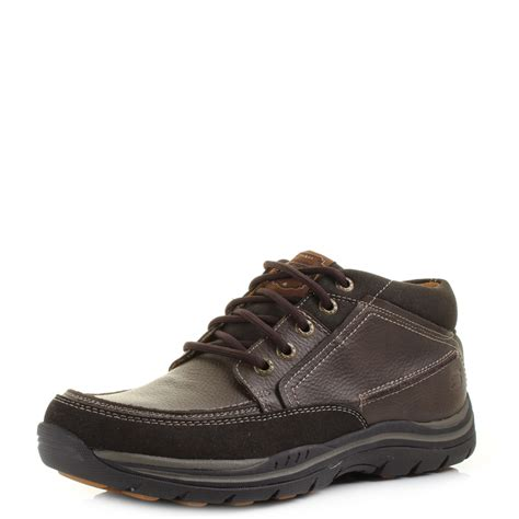 mens comfort boots mens skechers expected cason chocolate leather brown