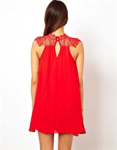 tfnc swing dress tfnc london swing dress with lace high neck in red lyst