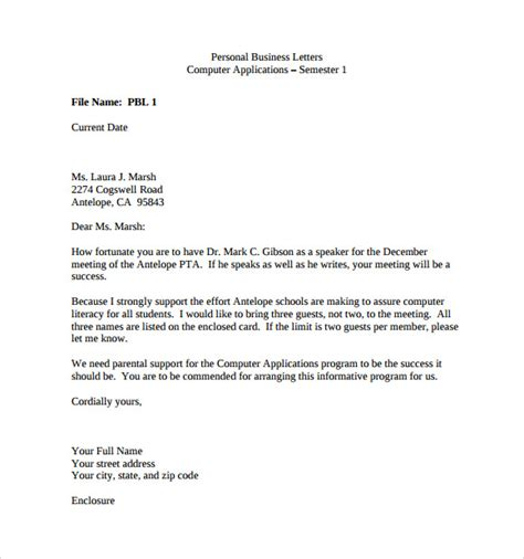 personal business letter 9 free documents in