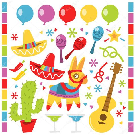 festa clipart retro mexican design elements stock vector