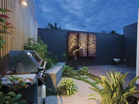 Outdoor Living Design With Bbq Area From A Real Australian Garden Feature Wall Ideas