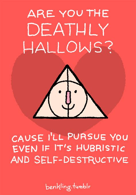 buzzfeed valentines day harry potter lol illustration deathly hallows puns
