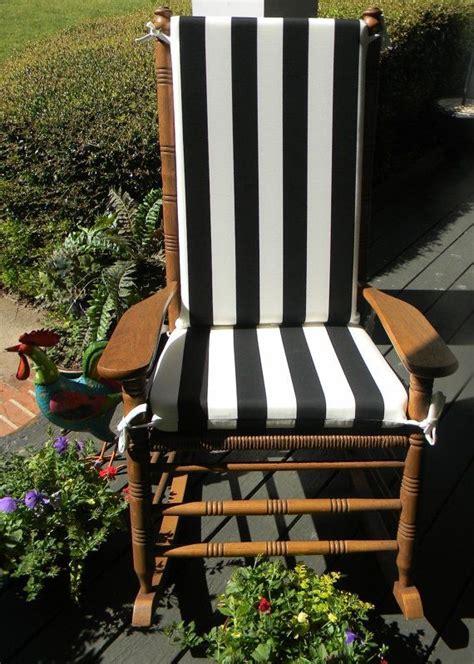 Cracker Barrel Rocking Chair Cushions - indoor outdoor black white stripe rocking chair 2 pc