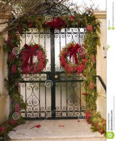 gate with christmas decorations stock photo image 7552470
