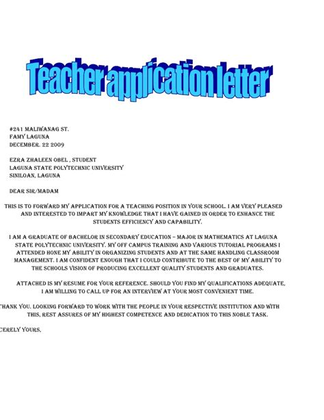 copy of cover letter for application copy of application letter