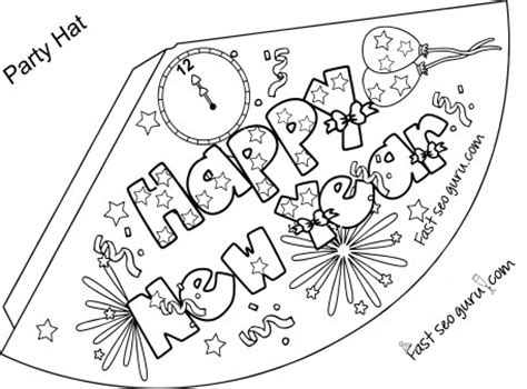 new years hat template print out happy new year hat coloring for