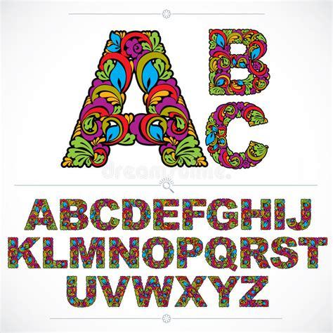 design pattern typescript floral font hand drawn vector capital alphabet letters