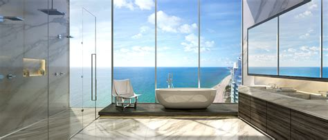 Sea View Contemporary Bathroom Design With Large Glass