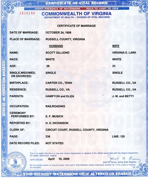 Vital Records Marriage Certificate Vital Records
