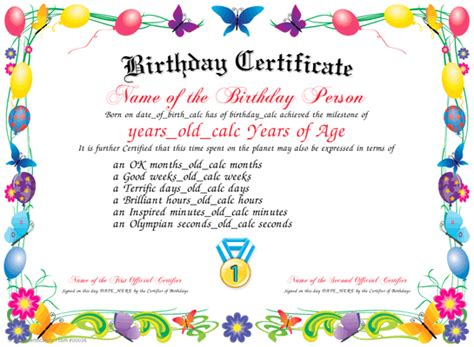 printable birthday certificate templates birthday certificate