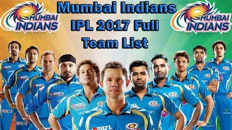 ipl all team player ipl season 10 mumbai indians mi full team squad players