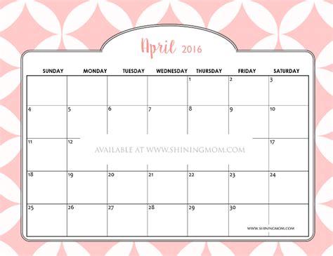 April 2016 Calendar Printable Free Printable April 2016 Calendars