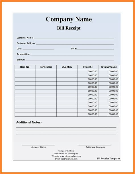Bill Receipt Template Excel by 5 Food Bill Receipt Formats Letter Bills