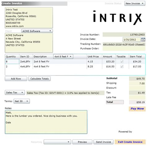 Invoice Template Credit Card Payment Option Intrix Invoice Creator