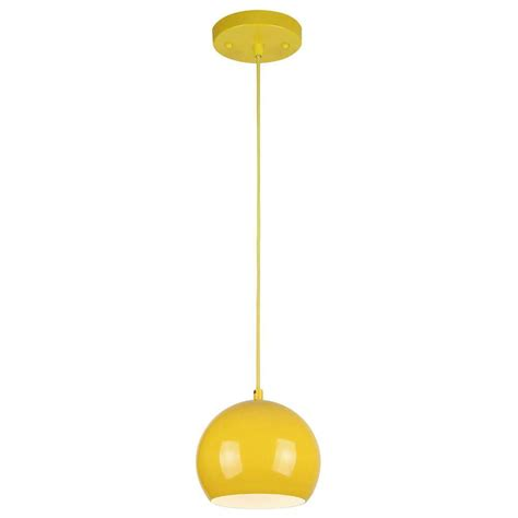 Yellow Pendant Light Westinghouse 1 Light Yellow Adjustable Mini Pendant With Metal Shade 6101900 The Home Depot