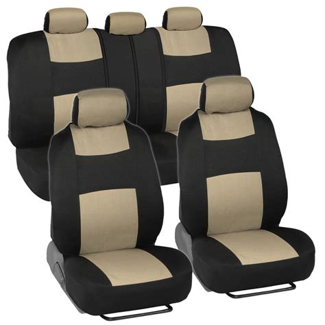 bench car seat covers car seat covers front rear split option bench padded flat cloth beige tan ebay
