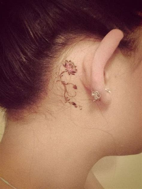 60 pretty designs of ear tattoos small flower tattoos