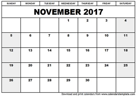printable calendar 2017 november cute november 2017 calendar cute printable template with