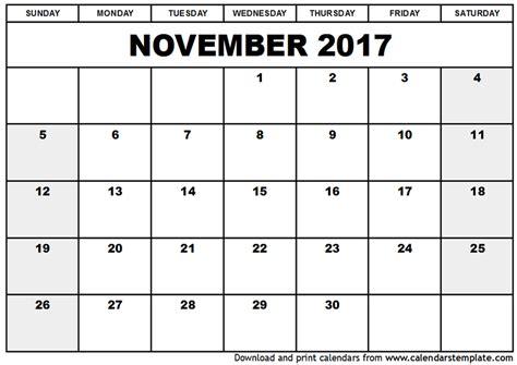 printable calendar of november 2017 november 2017 calendar cute printable template with