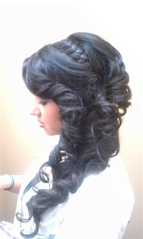 prom hairstyles tight curls side updo long hair braid curls tight curls upstyle