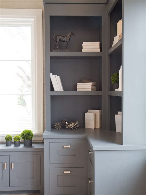 gray built in cabinets transitional den library office