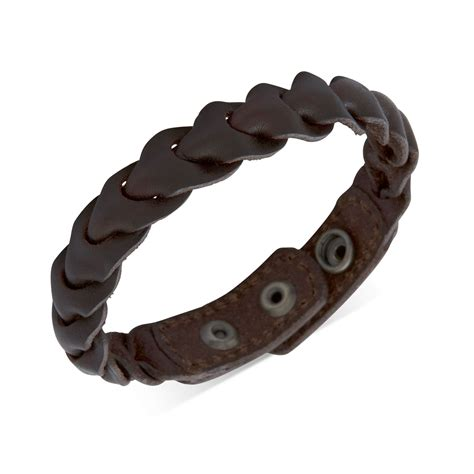 fossil brass and brown leather braided wrap bracelet in