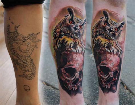 owl tattoo underarm arm realistic skull owl tattoo by piranha tattoo supplies