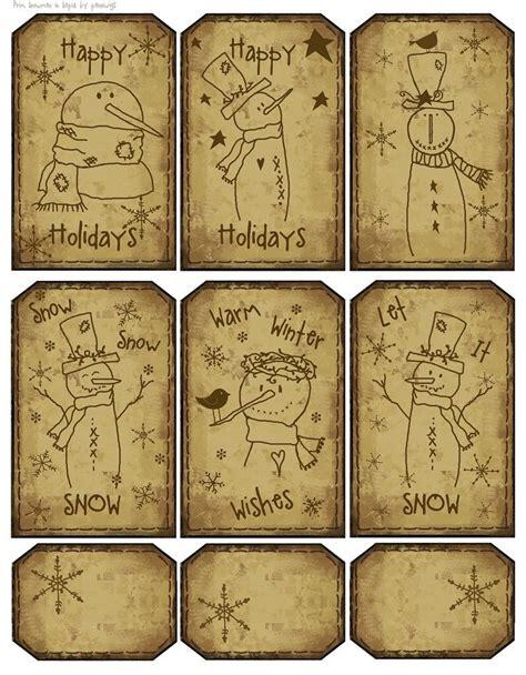 printable primitive labels christmas free labels primitive 12 prim sepia snowmen