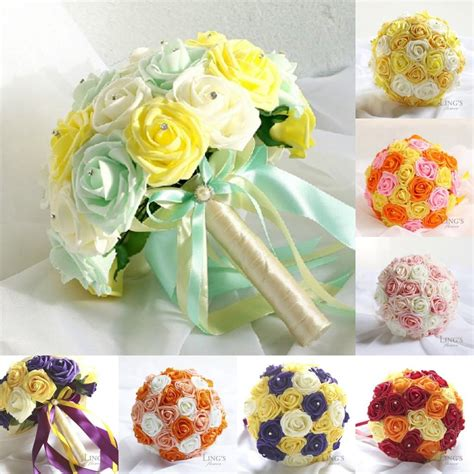 2015 real image cheap bridal bouquets artificial