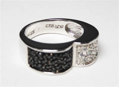 sterling silver cz s ring black and white by thejewelseeker
