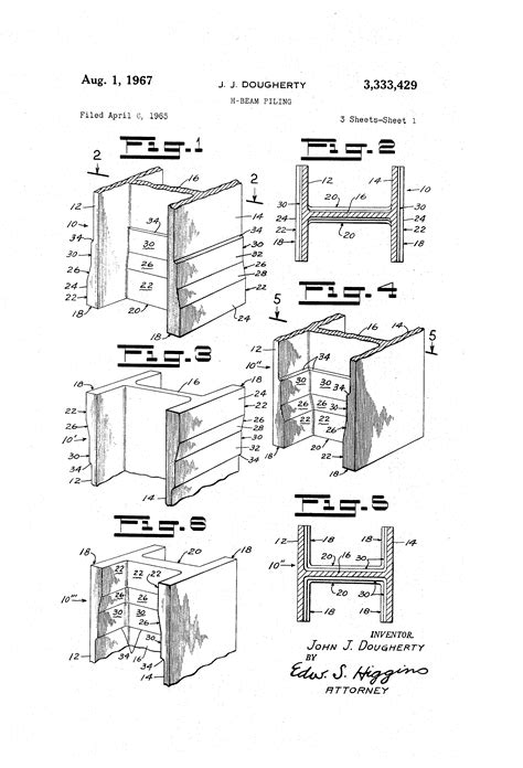 Drawing H Beam by Patent Us3333429 H Beam Piling Patents