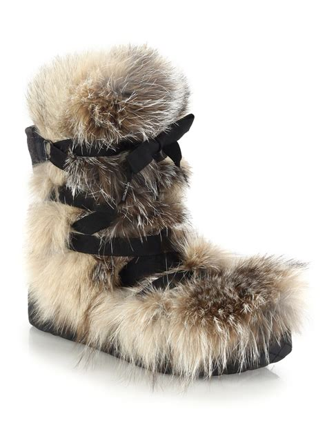 moncler zoe fox fur suede and leather boots in black lyst