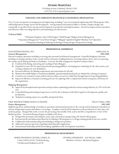 Sle Engineering Resume by Mechanical Design Engineer Resume Sle 28 Images