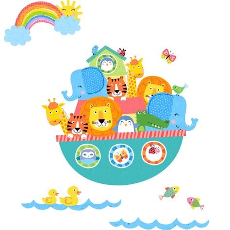 Baby Room Wall Sticker noah s ark brights fabric wall stickers by littleprints