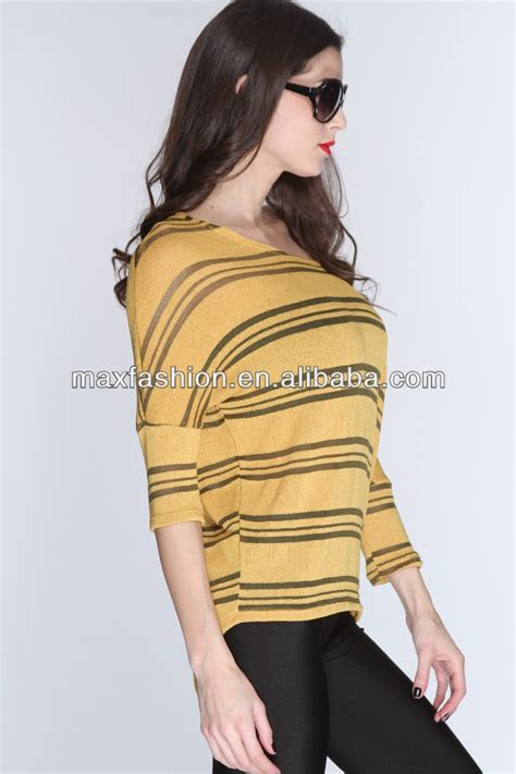 top design mustard knitted striped stylish latest long tops designs