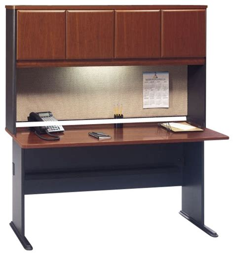 bush series a 60 quot wood credenza desk with hutch in hansen