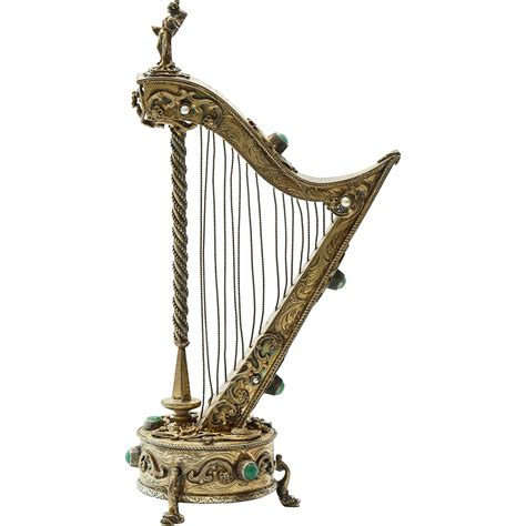Silver L Harp by Antique Austrian Gilt Silver Jeweled Box In The