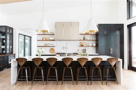 kitchen black and white kitchen island table industrial style modern mountain home by studio mcgee the english room