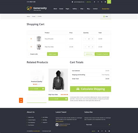 shopping cart templates free generosity charity nonprofit psd template by