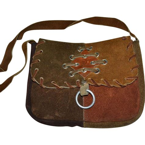 Handcrafted Leather Purses - 1960s sirco handcrafted patchwork leather hippie shoulder