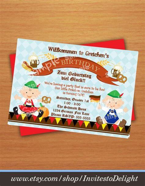 Invitation Letter For Birthday In German Personalized German Oktoberfest 1st Birthday Invitation Diy Digital Invites To Delight