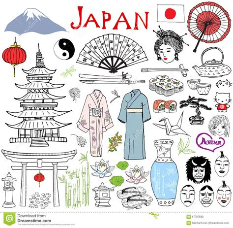 Japan Doodles Elements Sketch Set With