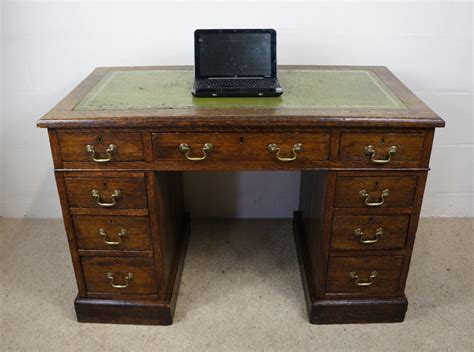 antique late edwardian oak leather home office