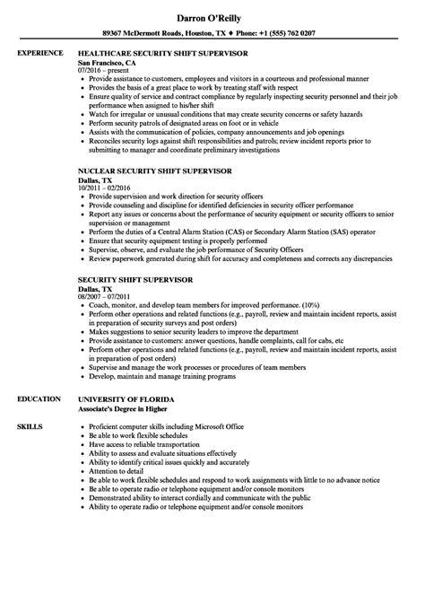 Shift Supervisor Resume by Security Shift Supervisor Resume Sles Velvet