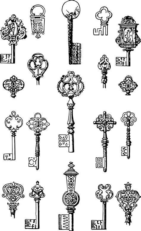Vintage Keys – Free Vector & Clip Art | Oh So Nifty