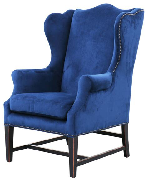 In A Blue Armchair by Gracie Velvet Wing Chair Royal Blue Transitional