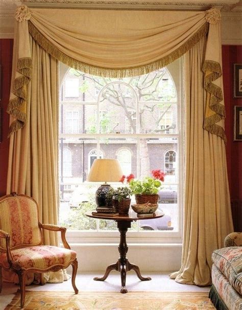 drapery window treatments drapery panels with one long scarf edged with bullion
