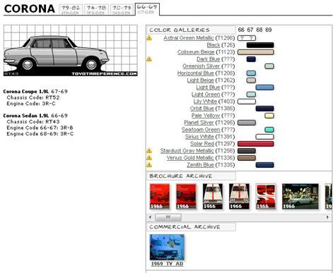 toyota corona forum us toyota corona paint code charts