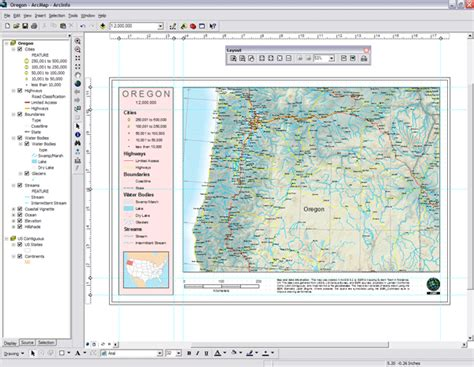 arcmap layout view page size data frames map layers and the table of contents in map