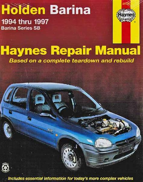 holden barina sb series 1994 1997 haynes service repair manual sagin workshop car manuals